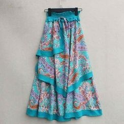 Flower Idea - Drawstring-Waist Layered Maxi Skirt