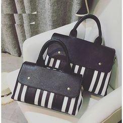 Youshine - Striped Faux Leather Handbag