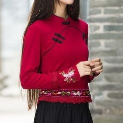 Diosa - Flower Embroidered Mandarin Collar Long Sleeve Top