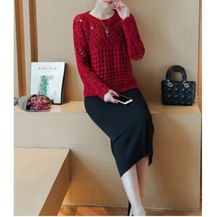 Eighoo - 套装: 镂空针织毛衣 + 针织中裙