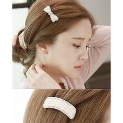 Miss21 Korea - Faux-Pearl Hair Barrette (2 Designs)