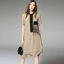 Y:Q - Fringed Short-Sleeve Dress