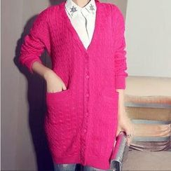 anzoveve - V-Neck Cable-Knit Long Cardigan