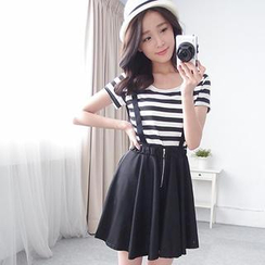 LULUS - Set: Striped T-Shirt + Suspenders Skirt