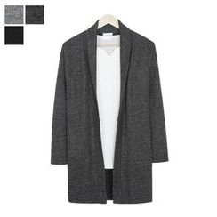 DANGOON - Shawl-Collar Open-Front Long Cardigan