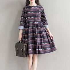 Clover Dream - Elbow-Sleeve Striped A-line Dress
