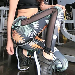 Sylphlike Loli - Mesh Insert Print Sports Leggings