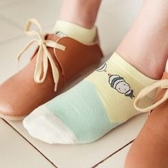 Cappuccino - 5 Pairs : Print Colour Block Low Socks