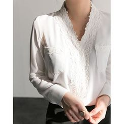 UPTOWNHOLIC - Lace Trim Long-Sleeved Blouse