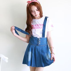 rico - Lace-Up Denim Suspender Skirt