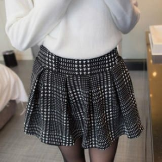 Tokyo Fashion - Patterned A-Line Pleated Skirt