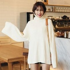 DABAGIRL - Turtle-Neck Wide-Sleeve Rib-Knit Top