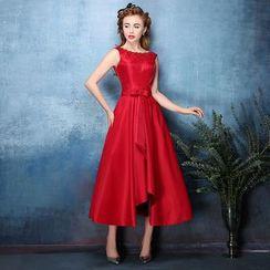Coeur Wedding - Sleeveless Open Back Midi Prom Dress