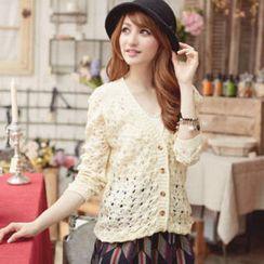 Tokyo Fashion - V-Neck Lace-Back Open-Knit Cardigan