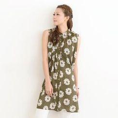 SO Central - Sunflower Pattern Sleeveless Shirtdress