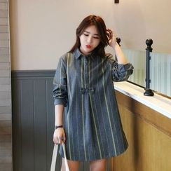 Angel Love - Bow Accent Striped Shirtdress