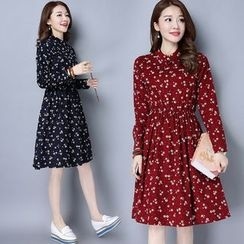 Diosa - Print Corduroy Long-Sleeve Dress