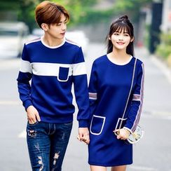 Igsoo - Couple Matching Striped Pullover / Pullover Dress
