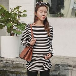 Oulimom - Maternity Striped Long-Sleeve Tunic