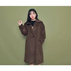 HOTPING - Hidden-Button Notched-Lapel Coat With Sash