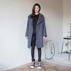 chuu - Wide-Lapel Wool Blend Pea Coat