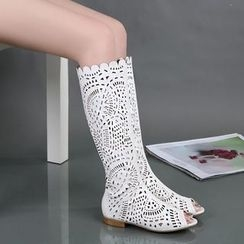 Shoes Galore - Peep Toe Perforated Tall Boots