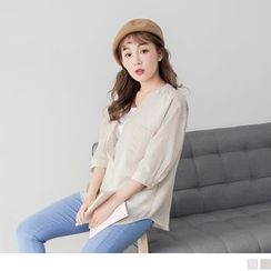 OrangeBear - Elbow Sleeve Mock Two Piece Stand Collar Striped Blouse