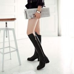 Shoes Galore - Faux Leather Chunky Heel Tall Boots