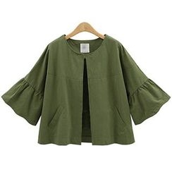 AGA - Ruffle Trim 3/4 Sleeve Cropped Jacket