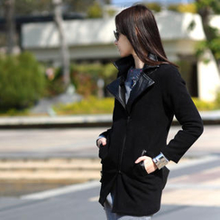 SO Central - Faux Leather Collar Diagonal-Zip Coat