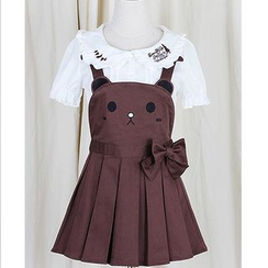 GOGO Girl - Bear Suspender Skirt / Rabbit Suspender Shorts / Embroidered Collar Blouse