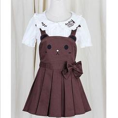 GOGO Girl - Bear Suspender Skirt / Rabbit Suspender Shorts / Embroidered Collar Blouse