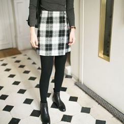 Miss Chipmunk - Side-Button Plaid Miniskirt