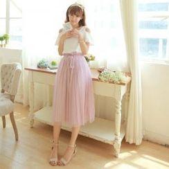 Porta - Set: Short-Sleeve Ruffle Top + Tulle Skirt