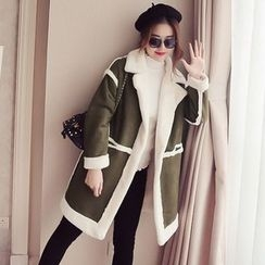 Ashlee - Fleece Lined Faux Suede Long Coat