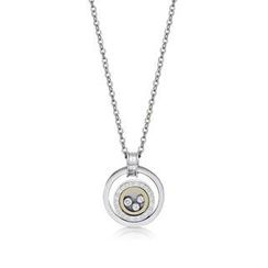 Kenny & co. - Ring Shaped Steel Pendant Necklace with Moving Crystals