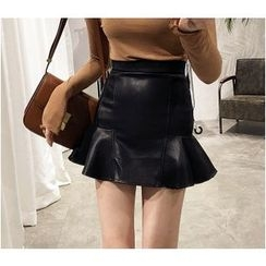 Oaksa - Ruffle Hem Faux Leather Mini Skirt