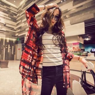 QZ Lady - Dip-Back Chiffon Plaid Blouse