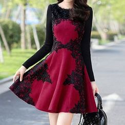 Romantica - Long-Sleeve Lace Panel Dress