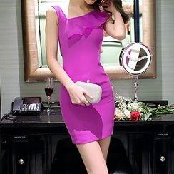 Dimanche - 荷葉邊無袖塑身連衣裙