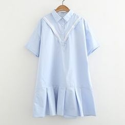 ninna nanna - Pleated Hem Short-Sleeve Shirtdress