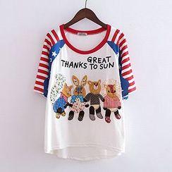 ninna nanna - Animal Appliqué Crewneck T-Shirt