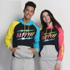 HappyTee - Lettering Drawstring Hooded Couple Pullover