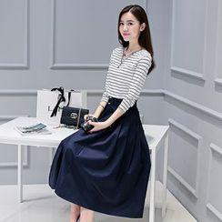 Lovi - Set: Stripe Long-Sleeve Top + Pleated Skirt