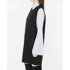 Someday, if - Sleeveless Wool Blend Mini Shift Dress