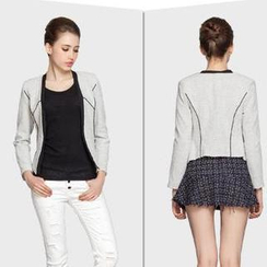 SEYLOS - Contrast-Trim Cropped Jacket