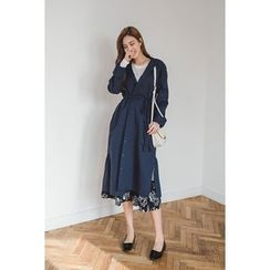 migunstyle - Band-Collar Shirtdress with Cord