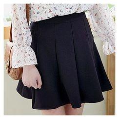 Sechuna - Band-Waist Pleated Mini Flare Skirt