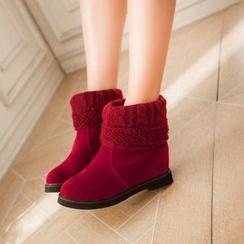 幸福鞋坊 - 針織拼接短靴