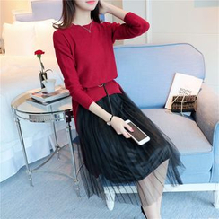 Shomez - Set: Plain Sweater + Pleated Sheer Panel Skirt